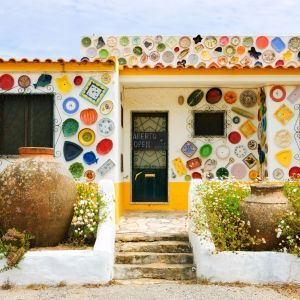 Sagres huis met borden Algarve